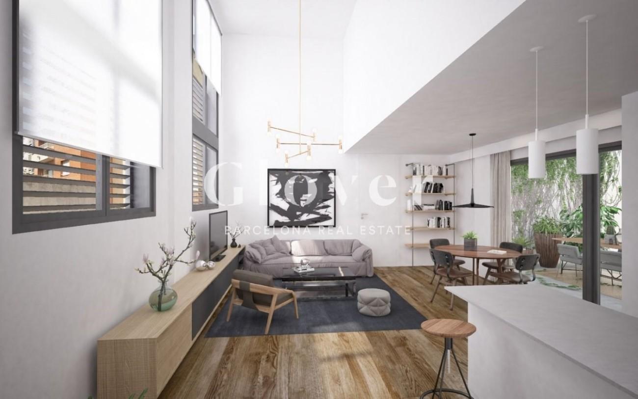 Rez-de-chaussée avec grande terrasse intérieure et double ...
